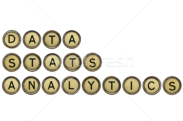 Adat statisztika analitika szavak öreg írógép Stock fotó © PixelsAway