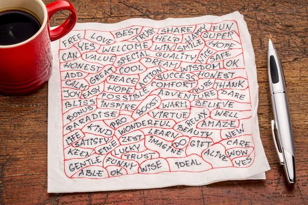positive word cloud on napkin Stock photo © PixelsAway