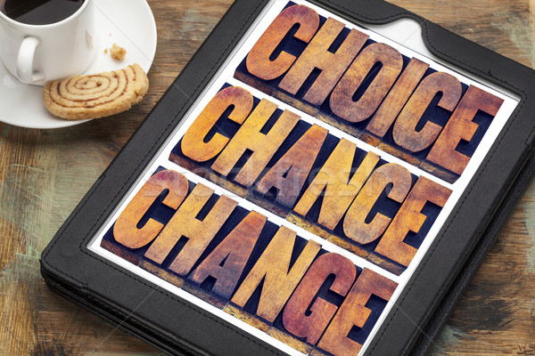 choice, chance and change on tablet Stock photo © PixelsAway