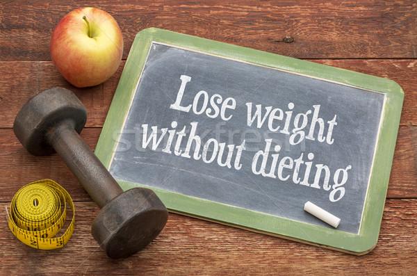 Fogyjon le diéta motivációs szavak iskolatábla viharvert Stock fotó © PixelsAway