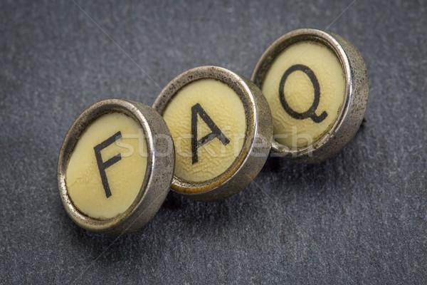 Faq acrônimo máquina de escrever teclas freqüentemente perguntas Foto stock © PixelsAway