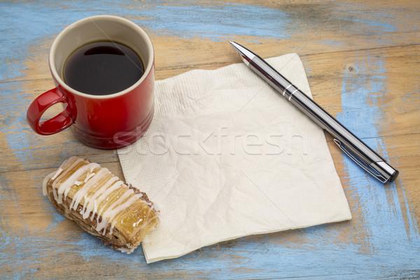Szalvéta kávé süti eszpresszó grunge festett Stock fotó © PixelsAway