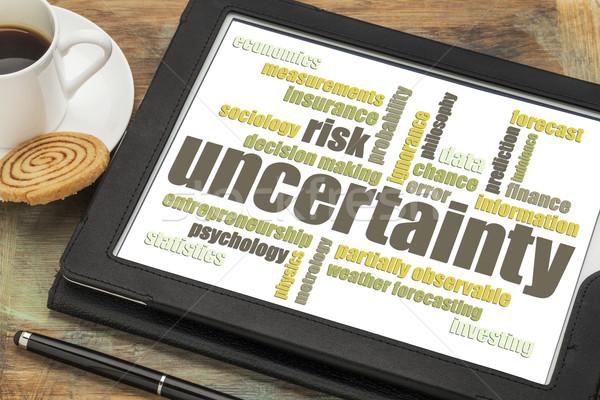 Foto stock: Incertidumbre · riesgo · nube · de · palabras · digital · tableta · taza