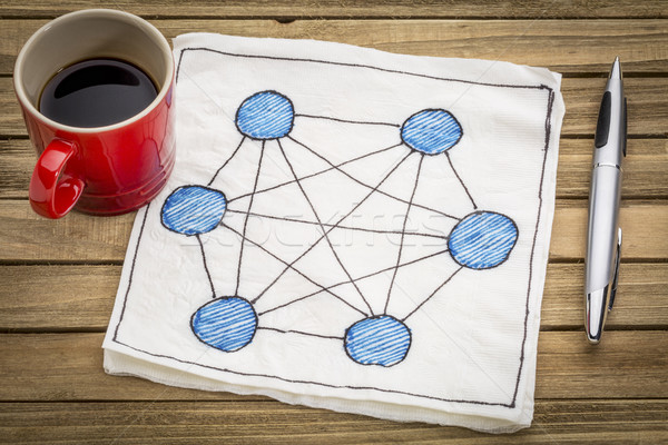 network concept on napkin Stock photo © PixelsAway