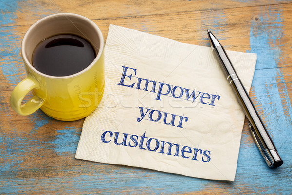 Empower your customers advice on napkin Stock photo © PixelsAway