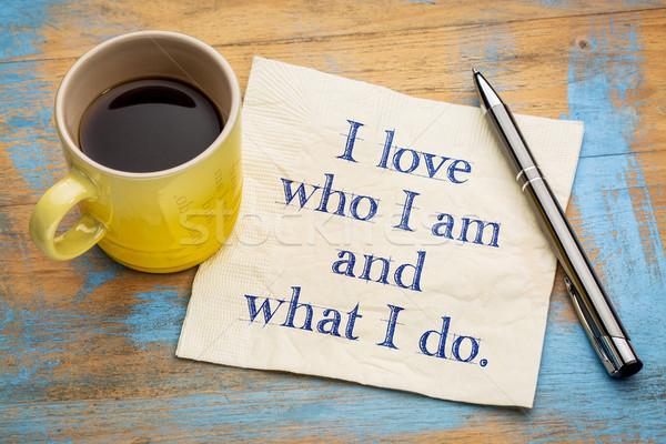 positive affirmation words on napkin Stock photo © PixelsAway