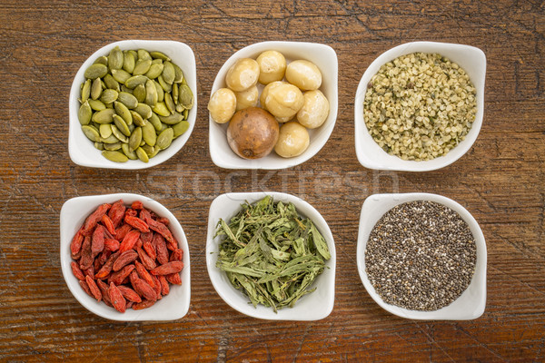 superfood set in small bowls against wood Stock photo © PixelsAway