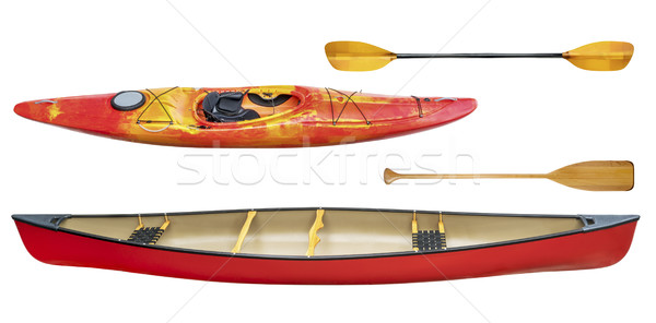 kayak, canoe and paddles isolated Stock photo © PixelsAway