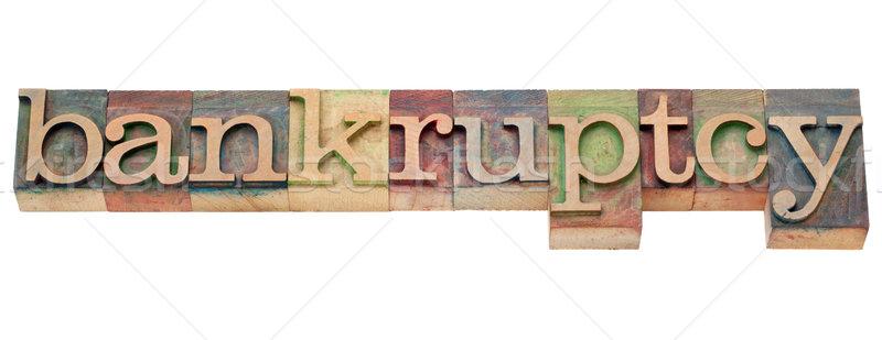 Faillissement woord type geïsoleerd tekst Stockfoto © PixelsAway