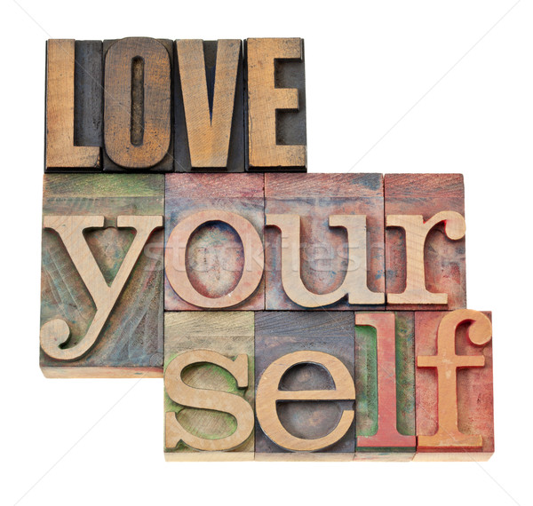 love yourself in wood type Stock photo © PixelsAway