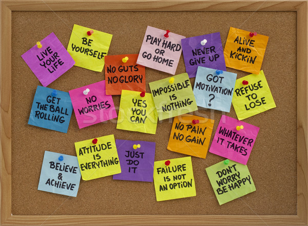 motivational reminders on bulletin board Stock photo © PixelsAway