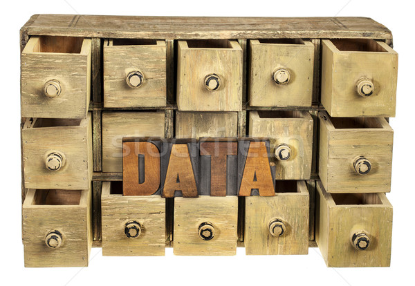 Gegevensopslag gegevens woord vintage hout Stockfoto © PixelsAway
