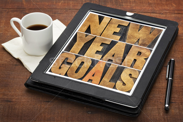 New Year goals on digital tablet Stock photo © PixelsAway