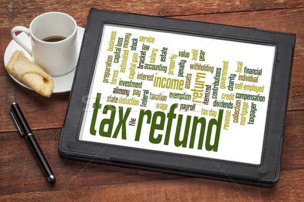 Adó viszzafizetés szófelhő digitális tabletta csésze Stock fotó © PixelsAway