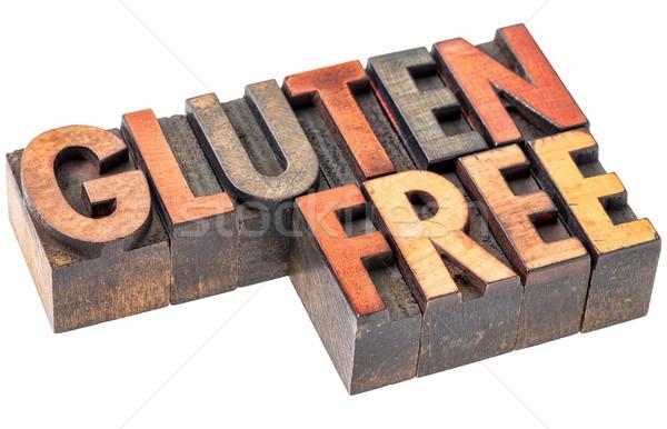 Glutenvrij vintage hout type woord abstract Stockfoto © PixelsAway