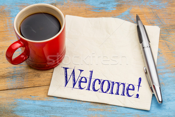 Welcome sign on napkin Stock photo © PixelsAway