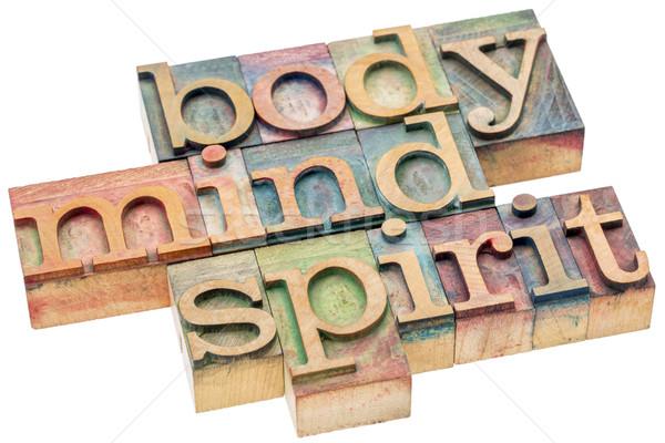 Körper Geist Geist Holz Typ Wort Stock foto © PixelsAway