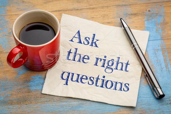 просить право вопросы почерк салфетку Кубок Сток-фото © PixelsAway