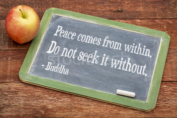 Buddha quote on peace coming from within Stock photo © PixelsAway