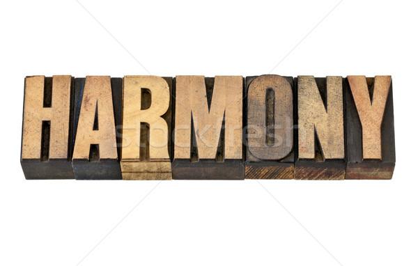 Harmonia słowo drewna typu odizolowany vintage Zdjęcia stock © PixelsAway
