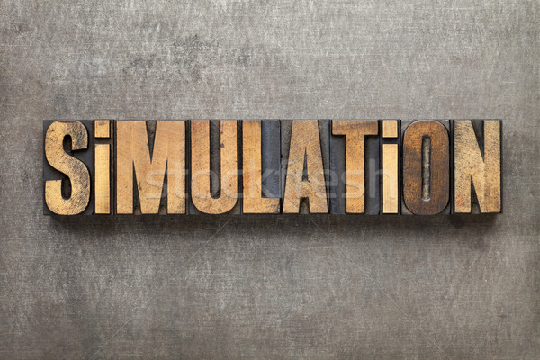 simulation word in wood type Stock photo © PixelsAway