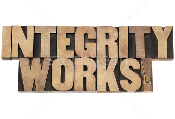 integrity works in wood type Stock photo © PixelsAway