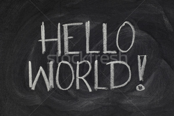 Hello, World! - message from the first computer program Stock photo © PixelsAway