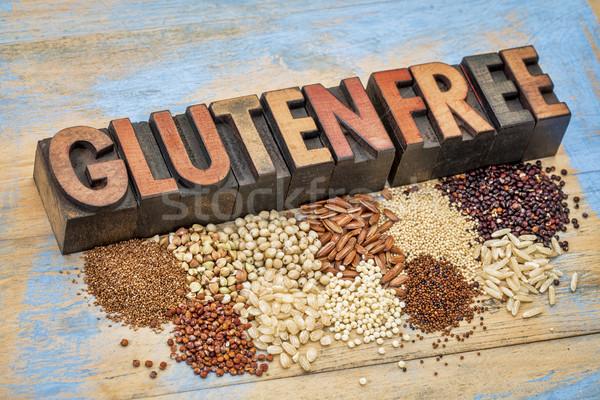 Glutenvrij typografie rijst tekst vintage Stockfoto © PixelsAway