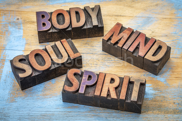 body, mind, soul and spirit word abstract Stock photo © PixelsAway