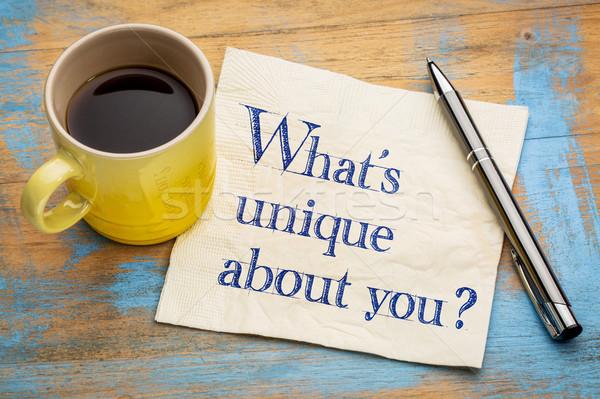 Cosa unico questione calligrafia tovagliolo Cup Foto d'archivio © PixelsAway