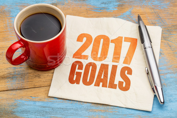 2017 goals word abstract on napkin Stock photo © PixelsAway