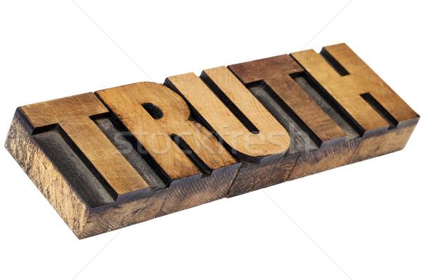 правда слово древесины тип изолированный Сток-фото © PixelsAway