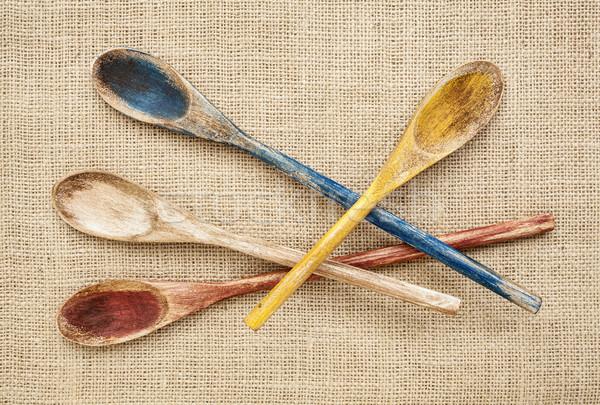 rustic wooden spoons Stock photo © PixelsAway