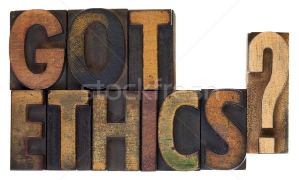 этика Vintage древесины тип этический вопросе Сток-фото © PixelsAway