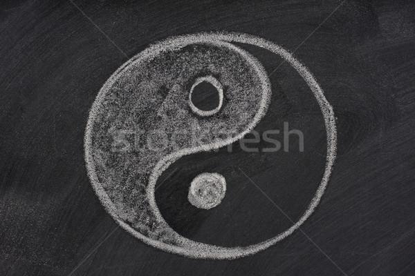 Stock foto: Yin · Yang · Symbol · Tafel · weiß · Kreide · Radiergummi