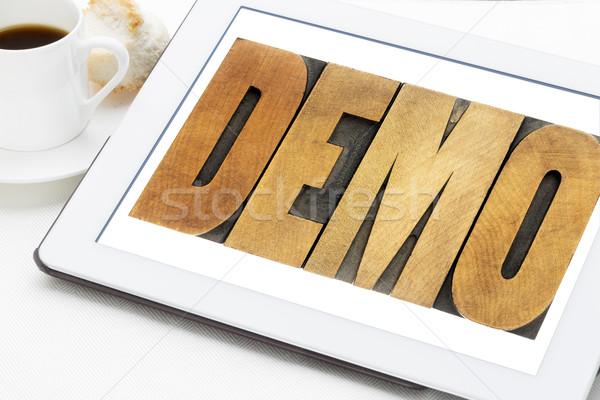 デモ 言葉 タブレット ヴィンテージ 木材 ストックフォト © PixelsAway