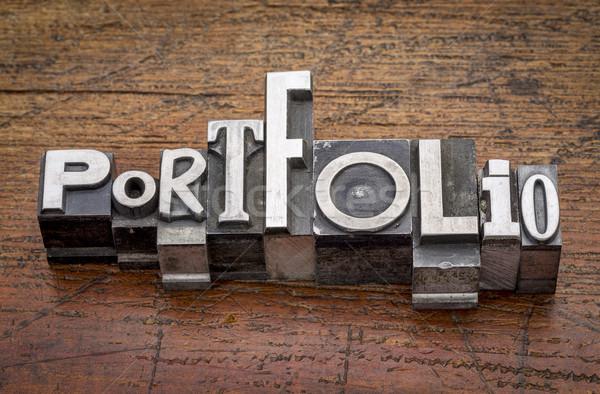 Portefeuille woord metaal type gemengd vintage Stockfoto © PixelsAway