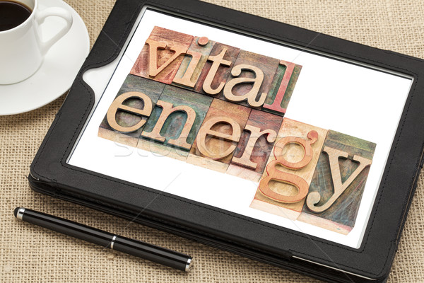 vital energy typography on tablet Stock photo © PixelsAway