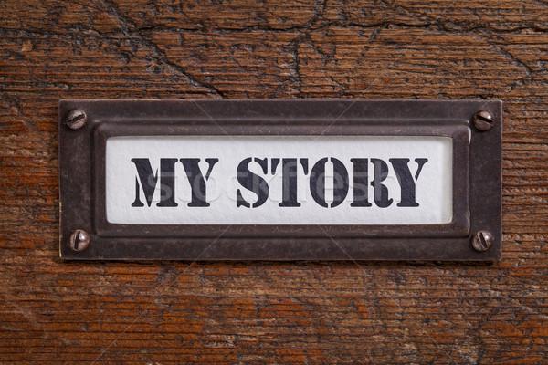 Mijn verhaal bestand kabinet label bronzen Stockfoto © PixelsAway