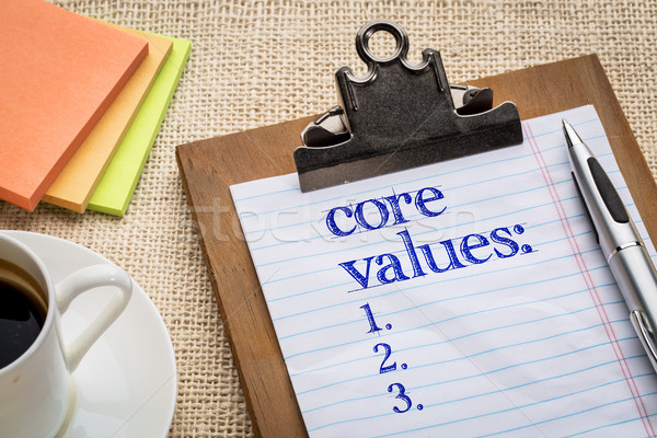 Stockfoto: Kern · waarden · lijst · pen · koffie