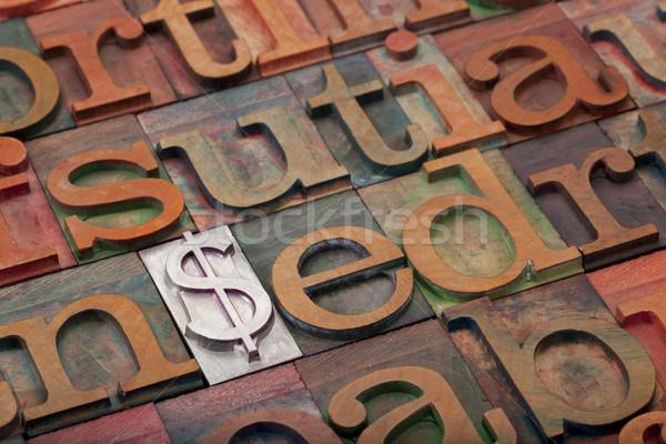Stock fotó: Dollárjel · magasnyomás · fém · klasszikus · fából · készült