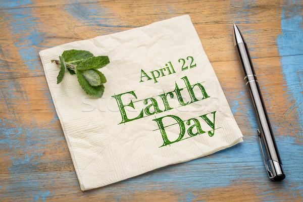 22 föld napja szalvéta emlékeztető kézírás friss Stock fotó © PixelsAway