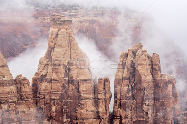 sandstone formations in fog Stock photo © PixelsAway