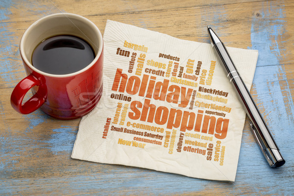 Stock photo: holiday shopping word cloud on napkin
