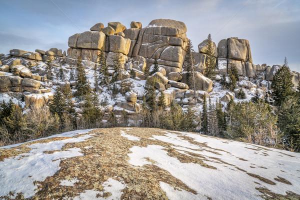 Kaya oluşumu granit Wyoming arazi ruh Stok fotoğraf © PixelsAway