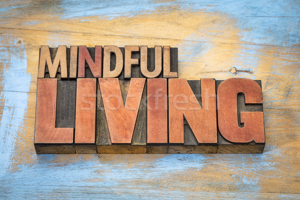 mindful living word abstract in wood type Stock photo © PixelsAway