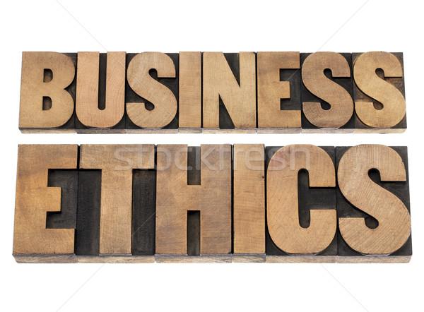 Business Ethik isoliert Text Buchdruck Holz Stock foto © PixelsAway