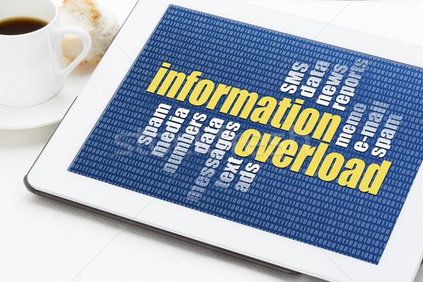 Informacji przeciążenie chmura słowo cyfrowe tabletka kubek Zdjęcia stock © PixelsAway