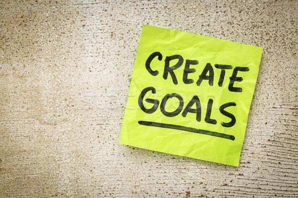 Készít célok emlékeztető kézírás zöld öntapadó jegyzet Stock fotó © PixelsAway
