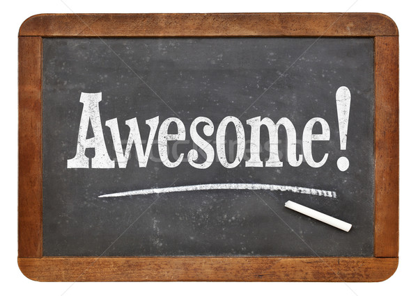 Awesome exclamation on blackboard Stock photo © PixelsAway